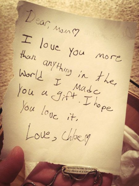 Sweet note from my daughter...